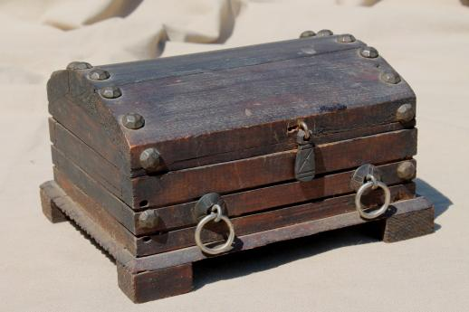 vintage wood pirate treasure chest rustic wooden trunk or jewelry box