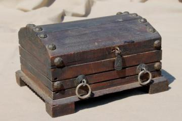 vintage wood pirate treasure chest, rustic wooden trunk or jewelry box
