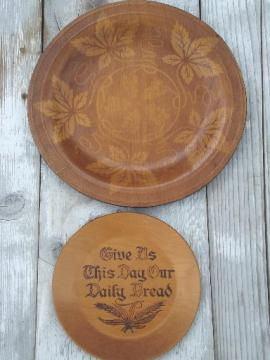 vintage wood plates, daily bread plate & maple leaf serving tray
