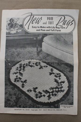 Vintage Wood Pom Pon Loom Lily Brand Rug Maker Tool W