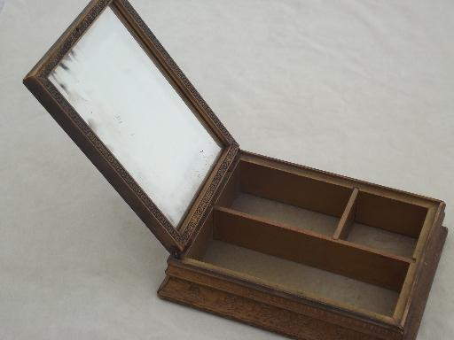 Vintage Wood Portable Vanity Mirror Stand Jewelry Box With Cottage