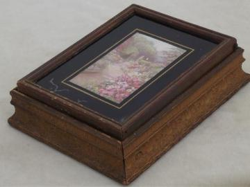 vintage wood portable vanity, mirror stand jewelry box with cottage garden print