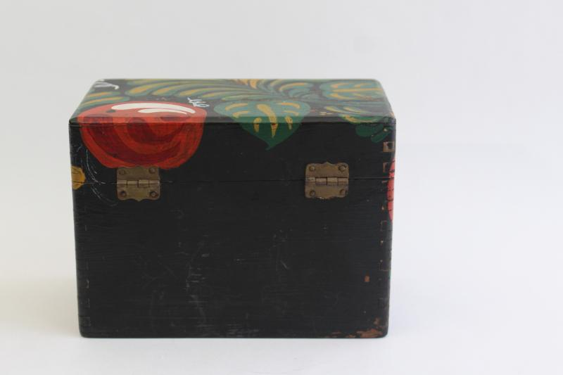 vintage wood recipe box, tole painted folk art primitive old country style
