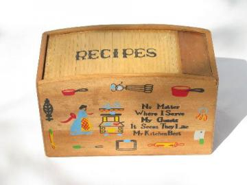 vintage wood recipe card box, painted kitchen motto, roll top accordian lid