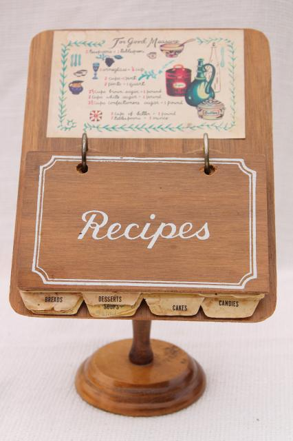 vintage wood recipe stand w/ recipe cards, fun retro kitchen 'cook book'!