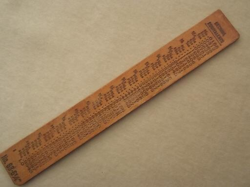 "vintage wood ruler with Timkin bearings advertising, 6"" measure"