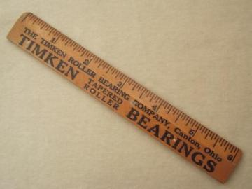 """vintage wood ruler with Timkin bearings advertising, 6"""" measure"""