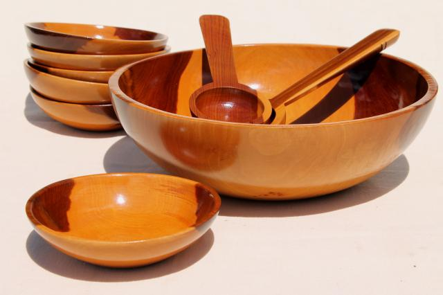 vintage wood salad bowl set, glossy varnished cedar fatwood bowls, rustic modern