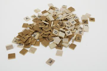 vintage wood scrabble letter tiles, 175+ pieces for upcycled art, game parts lot