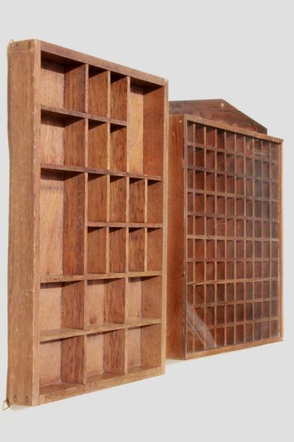 Vintage Wood Shadowbox Display Case Shelves For Thimbles