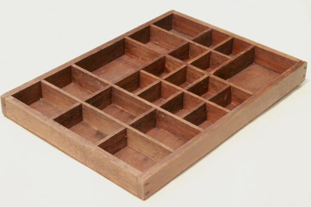 Vintage Wood Shadowbox Display Case Shelves For Thimbles