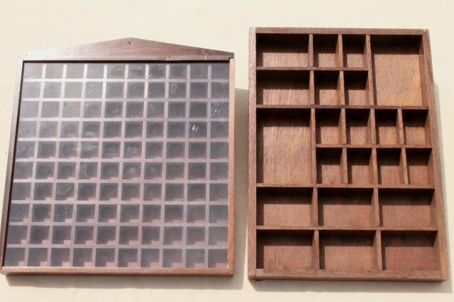 vintage wood shadowbox display case shelves for thimbles, miniatures,  collectibles - Vintage Wood Shadowbox Display Case Shelves For Thimbles
