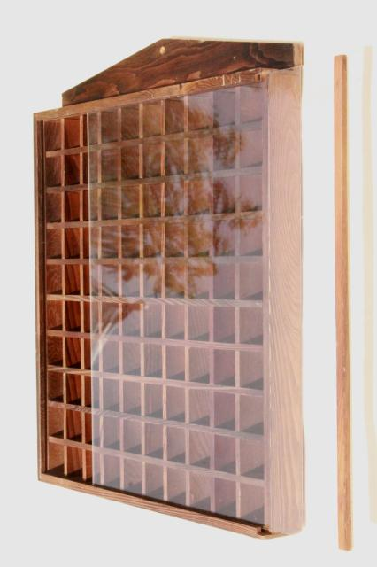 Display Shelves For Collectibles >> vintage wood shadowbox display case shelves for thimbles ...