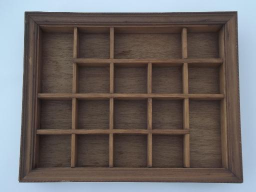 vintage wood shadowbox frame, type case style miniature display shelves