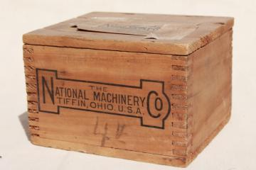 vintage wood shipping crate w/ machinery advertising graphics, rustic file box size storage