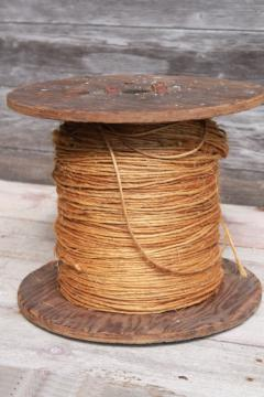vintage wood spool of rope, rustic farm primitive natural sisal hay bale twine