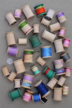 vintage wood spools, lot of primitive old wooden spools from sewing thread