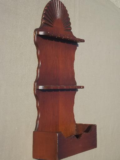 Vintage Wood Spoon Rack Country Pine Wall Box Spoon