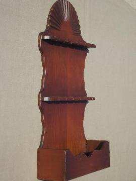 vintage wood spoon rack, country pine wall box spoon holder display