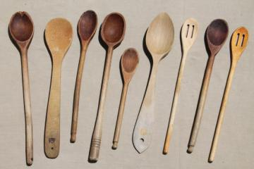 vintage wood spoons, collection of primitive long handled wooden stirring spoons