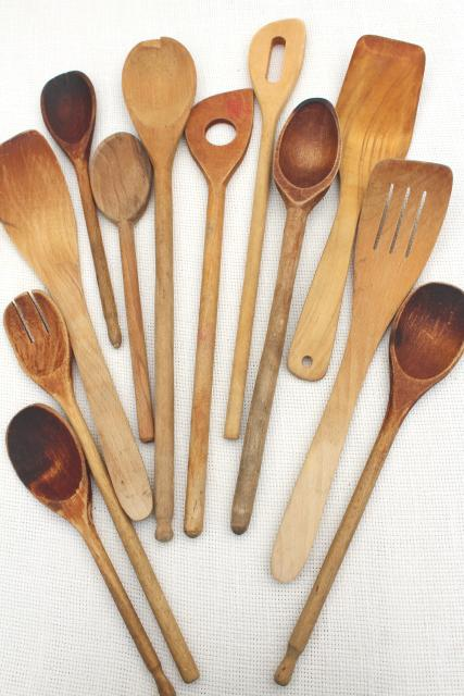 vintage wood spoons, instant collection primitive old wooden spoons