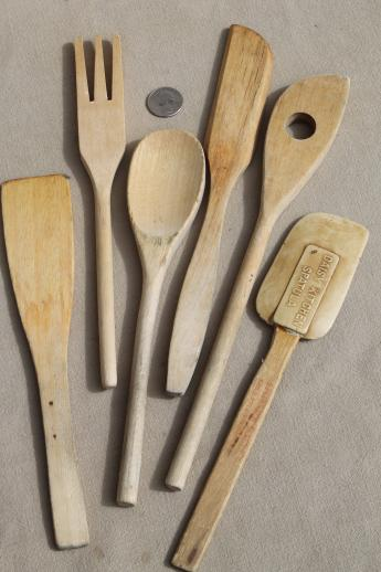vintage wood spoons & wooden kitchen utensils - butter paddle & scoop, spoon & fork sets