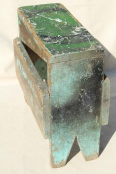 vintage wood tiny bench or foot stool, farm country primitive worn weathered old paint