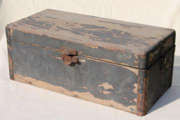 vintage wood trunk wooden carpenter's box, antique tool chest for woodworking tools