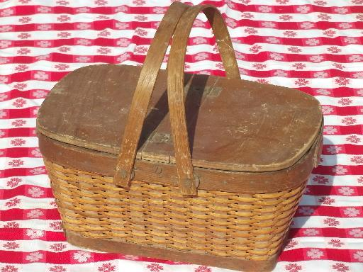 Vintage Wood Wicker Picnic Hamper Basket W Handles Toy