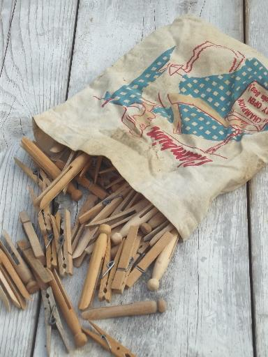vintage wooden clothespins in old print cotton clothespin bag