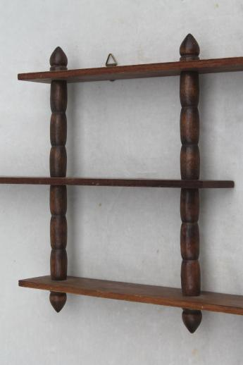 vintage wooden display shelves for miniatures & tiny collectibles, mid-century wall shelf grouping