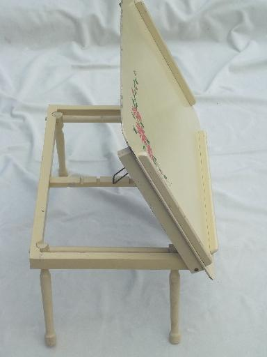 vintage wooden lap desk tray table, shabby painted cottage furniture