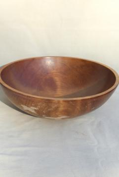 vintage wooden salad bowl, rustic primitive farmhouse style wood bowl handmade in Canada