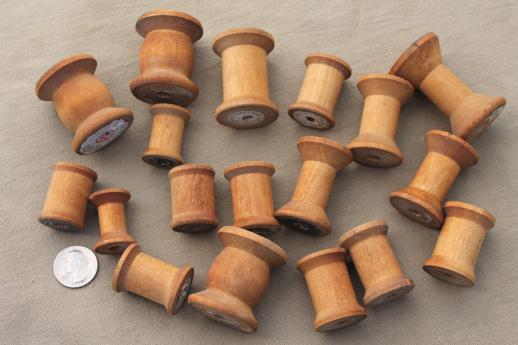 old wooden thread spools 2