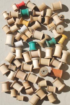 vintage wooden spools w/ some old labels, old sewing thread spools, primitive wood spool lot