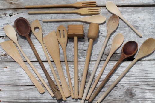 Vintage Wooden Spoons U0026 Wood Kitchen Utensils, Old Kitchen Woodenware Lot