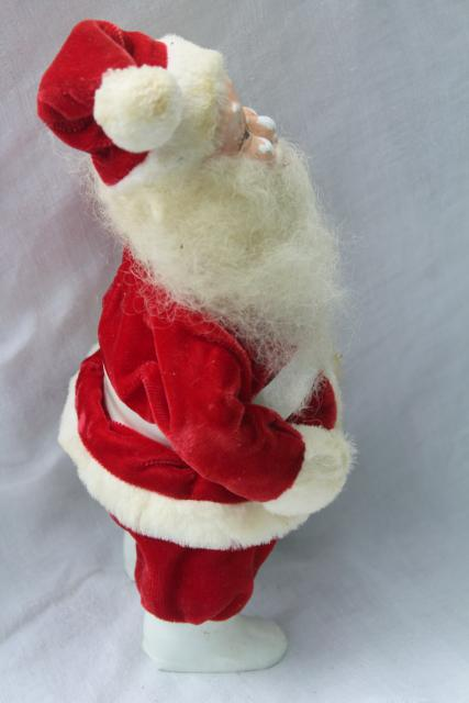 vintage wool beard Santa poseable standing doll painted face red velvet suit