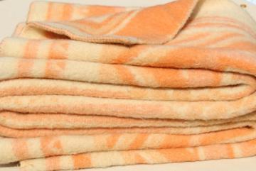vintage wool bed blanket from Europe, Holland Dutch or Swiss Eras Deken label