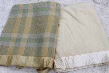 vintage wool bed blankets, natural ivory wool & wool plaid blankets