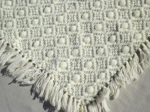 vintage wool blanket, 60s 70s retro rya style shag pile  throw w/ yarn fringe