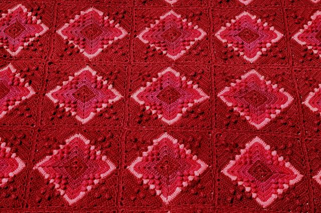 vintage wool blanket granny square crochet afghan, burgundy wine cranberry pink colors