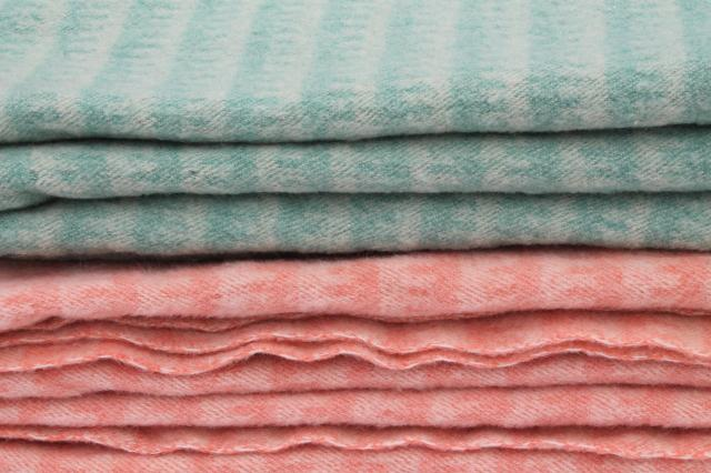 vintage wool blankets, mint green & peach pink candy stripe bed blanket lot