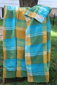 vintage wool camp blanket aqua blue & mustard yellow plaid, Onehunga New Zealand label