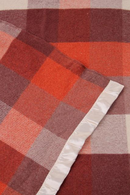 Vintage Wool Camp Blanket Buffalo Checked Plaid Russet