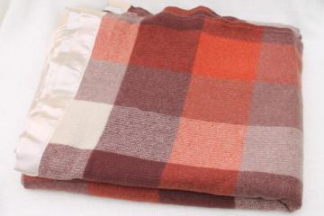 vintage wool camp blanket, buffalo checked plaid russet orange, tan, brown