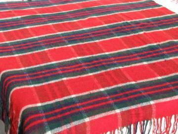 vintage wool camp blanket throw, red / green / blue plaid