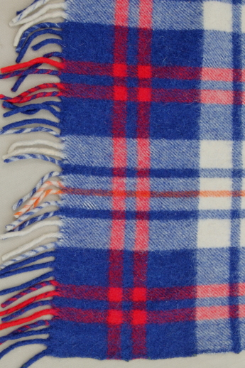 Vintage Wool Camp Blankets Red White Amp Blue Plaid Throw