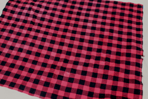 vintage wool camp blankets - red, white & blue plaid throw & red buffalo check blanket