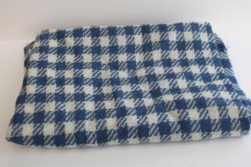 vintage wool fabric, blue & cream houndstooth tweed material for sewing or crafts