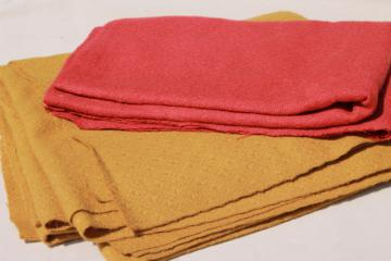 vintage wool fabric for crafts, rug making - mustard yellow, red rust orange
